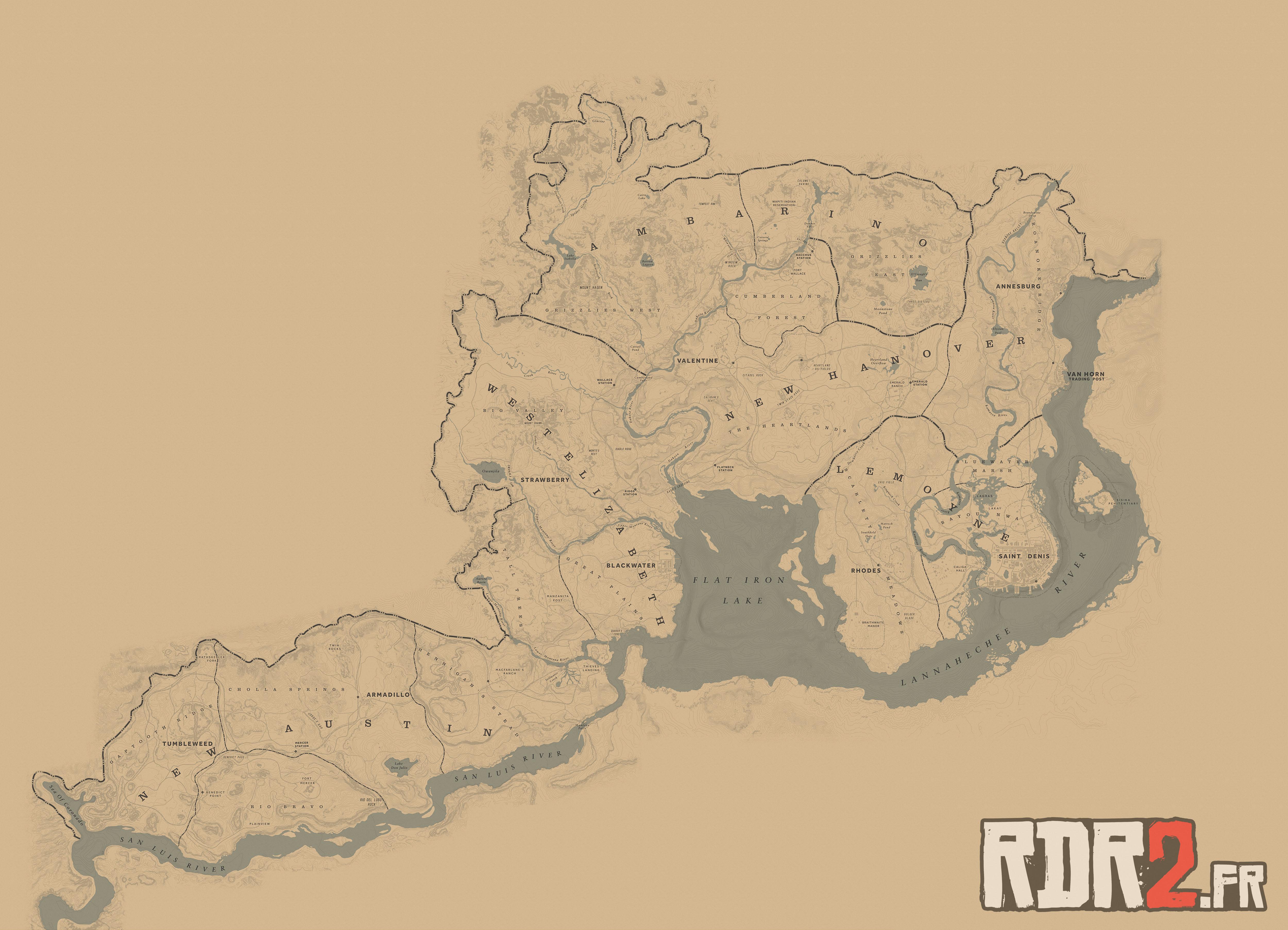 taille carte red dead redemption 2 La carte de RDR 2